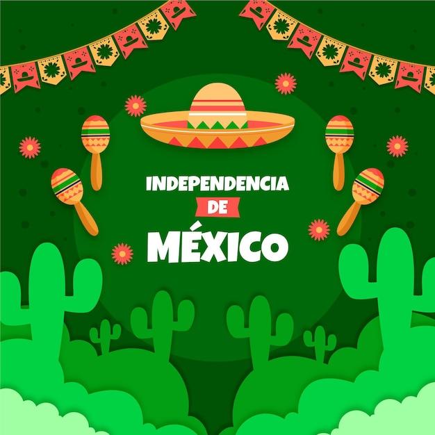 花輪と帽子のあるメキシコ独立記念碑 無料ベクター