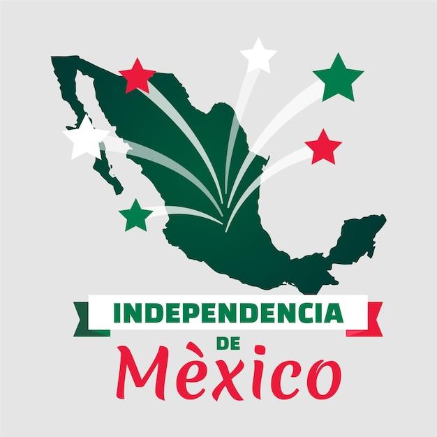 Независимость мексики с картой и звездами Бесплатные векторы