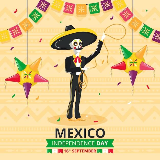 Independencia de méxico with skeleton Free Vector