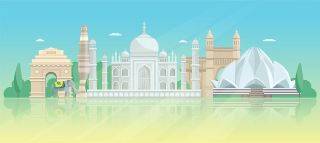 India architectural skyline poster Free Vector