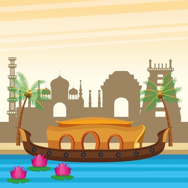India boat in river scenery cartoon Free Vector