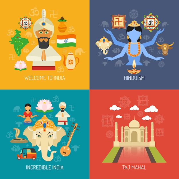 India concept set Free Vector