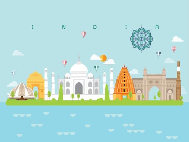 India famous landmarks infographic Premium Vector