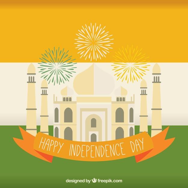 India flag background with taj mahal