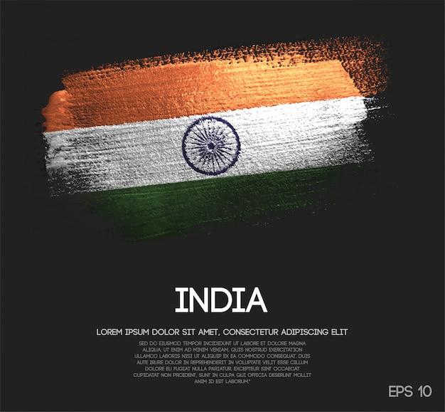 India flag made of glitter sparkle brush paint Premium Vector