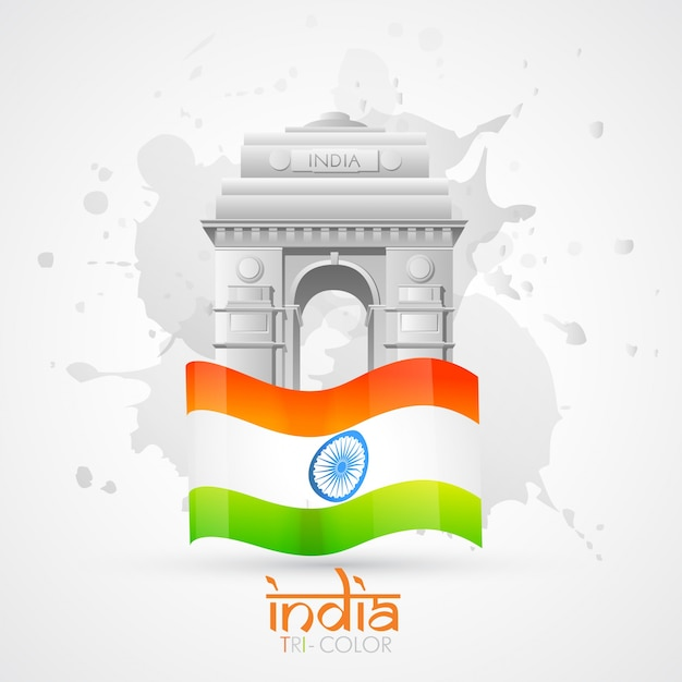 India gate with indian flag Free Vector