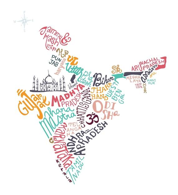 India hand drawn map vector illustration, Premium Vector