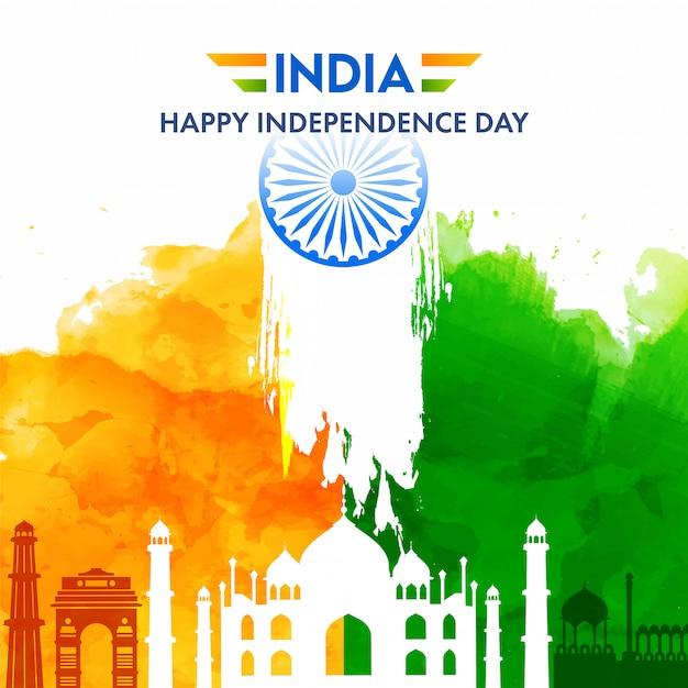 有名なモニュメント、サフラン、白い背景の上の緑の水彩効果を持つインドハッピー独立記念日のポスター。 Premiumベクター
