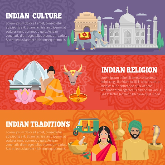 India horizontal banners set with traditions religion and culture Free Vector