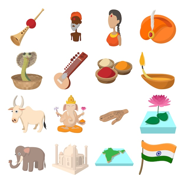 India icons in cartoon style for web and mobile devices Premium Vector