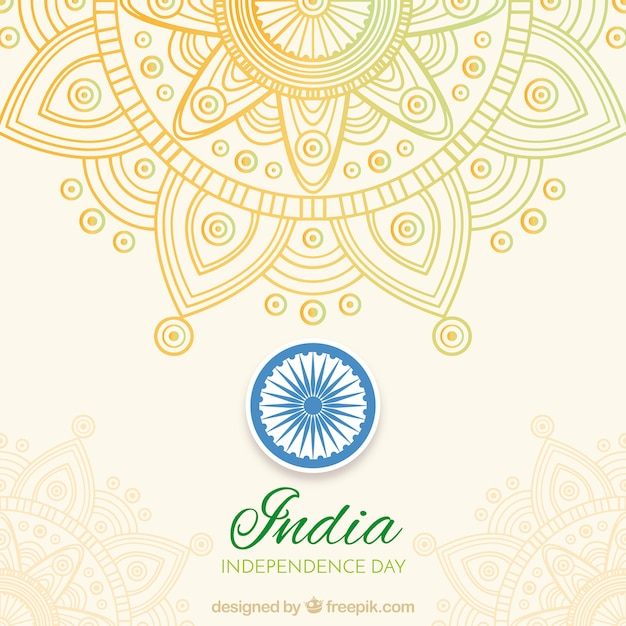 India independence background with mandala Free Vector