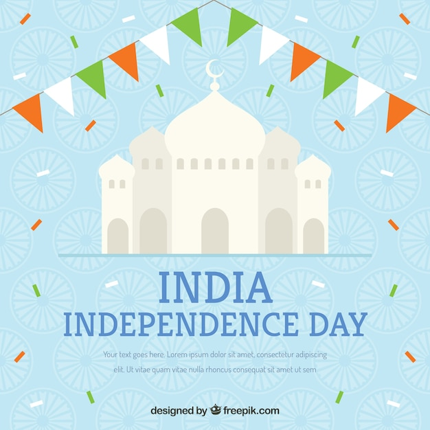 India independence background with taj mahal