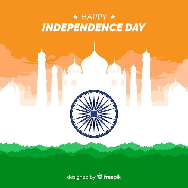 India independence day background flat design Free Vector