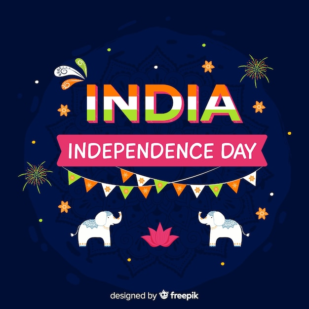 India independence day background in indian art style Free Vector