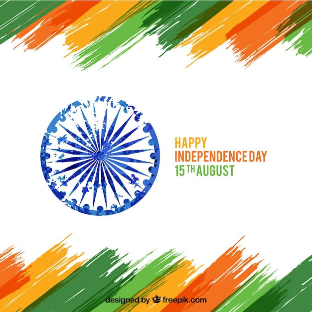 India independence day background with brushstrokes Free Vector