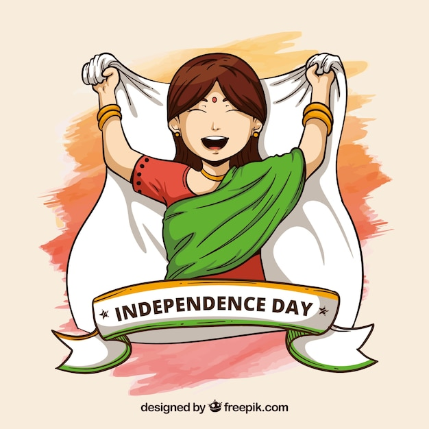 India independence day background with girl Free Vector