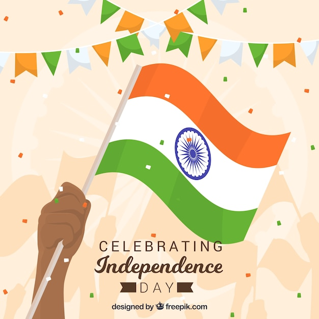 India independence day background with hand holding flag Free Vector