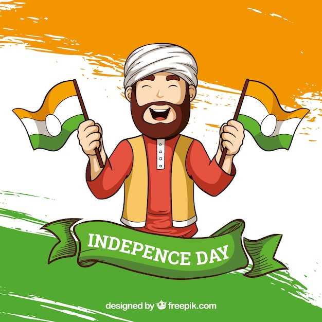 India independence day background with man Free Vector
