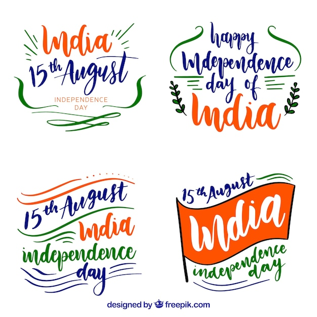 India independence day badges in watercolor style Free Vector