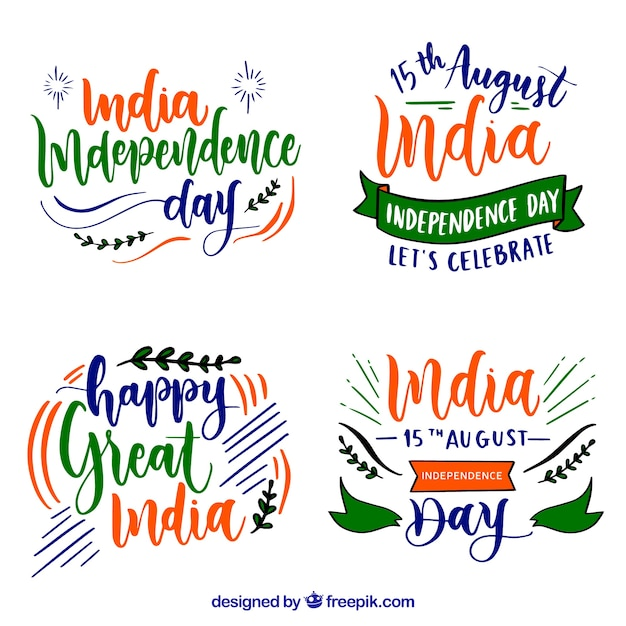India independence day badges Free Vector