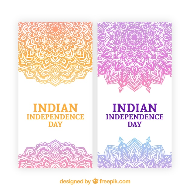 India independence day banners with orange and purple mandala Free Vector