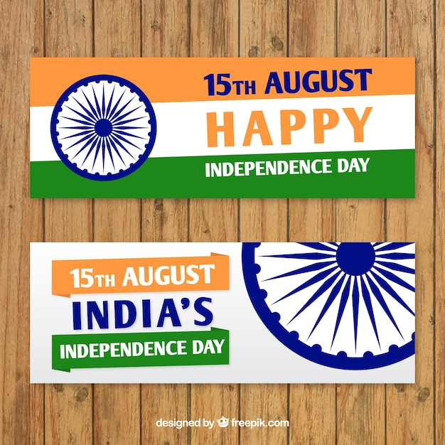 India Independence Day Banners With Symbol Vector Free Download