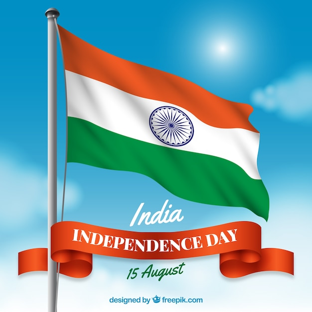 India independence day composition with realistic flag Free Vector