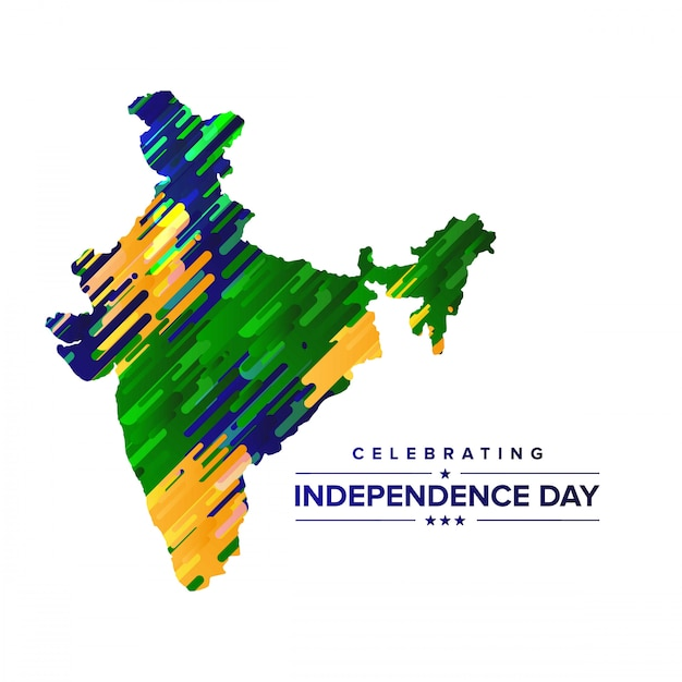India independence day design with map and typography vector Premium Vector