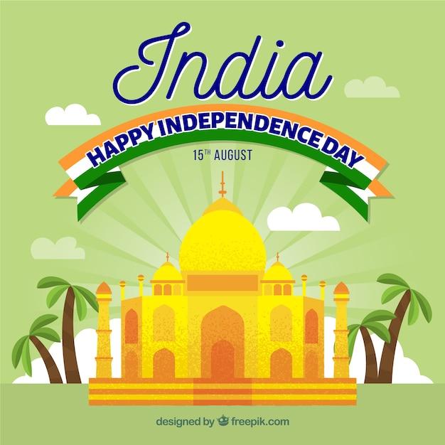 India independence day design with taj mahal