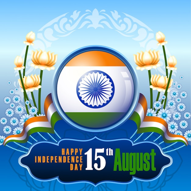 India independence day greetings Premium Vector