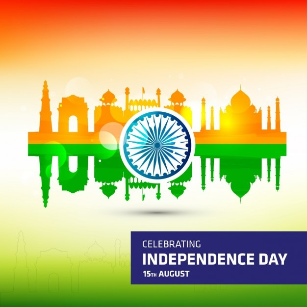 India independence day in colors background  Free Vector