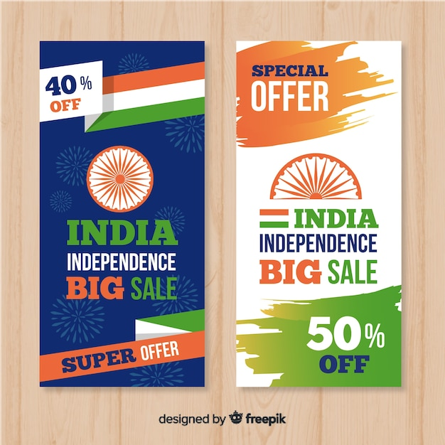 India independence day sale banners Free Vector