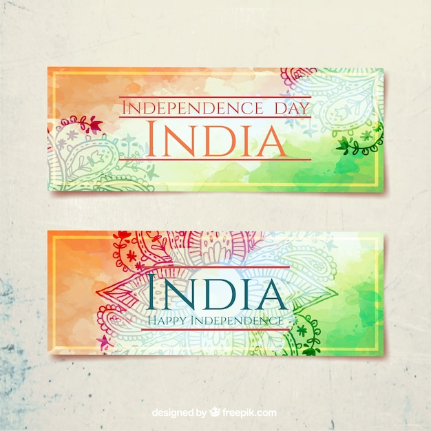 India independence day, watercolor banners