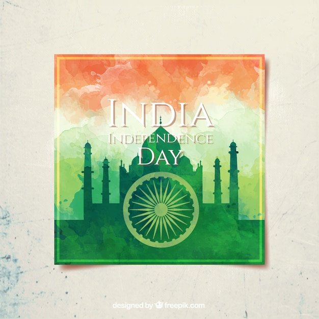 India independence day, watercolor