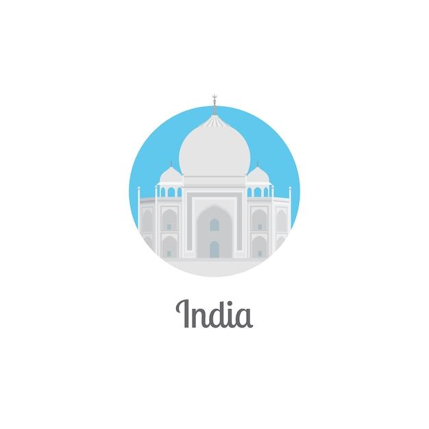 India landmark isolated round icon Premium Vector
