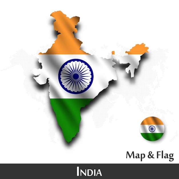 India map and flag . waving textile design . dot world map background . Premium Vector