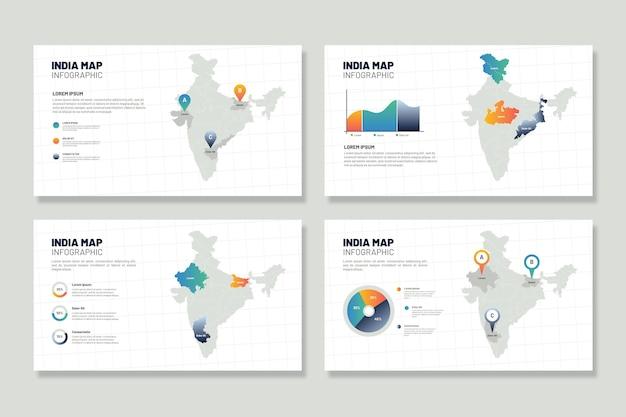 Инфографика карты индии Бесплатные векторы