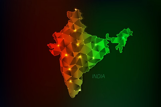 India map polygonal with glowing lights Premium Vector