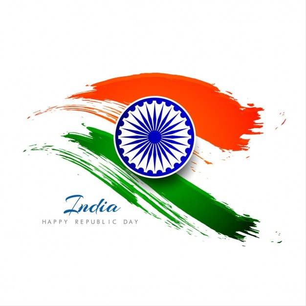 India republic day, background with watercolors Free Vector