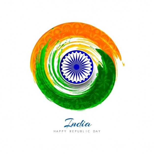 India republic day, circular watercolors Free Vector