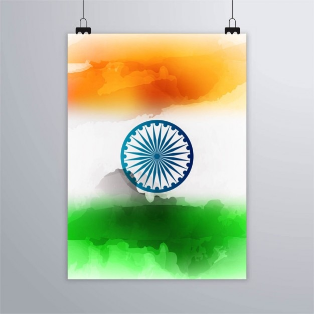 India republic day, flag with watercolors