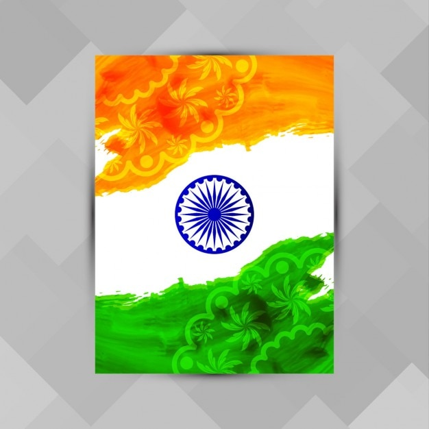 India republic day, poster with watercolor and ornaments