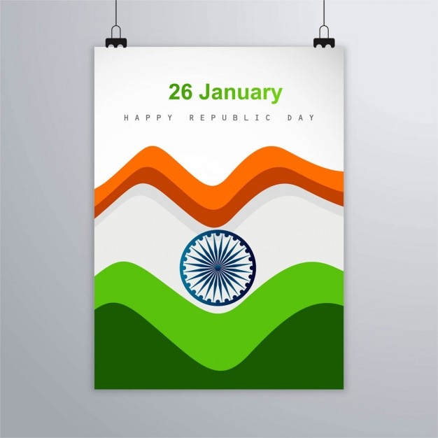 India republic day, poster with wavy forms