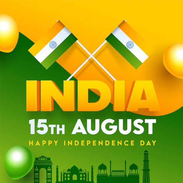 インドの旗、有名なモニュメント、サフランと緑の背景、ハッピー独立記念日の光沢のある風船とインドのテキスト。 Premiumベクター