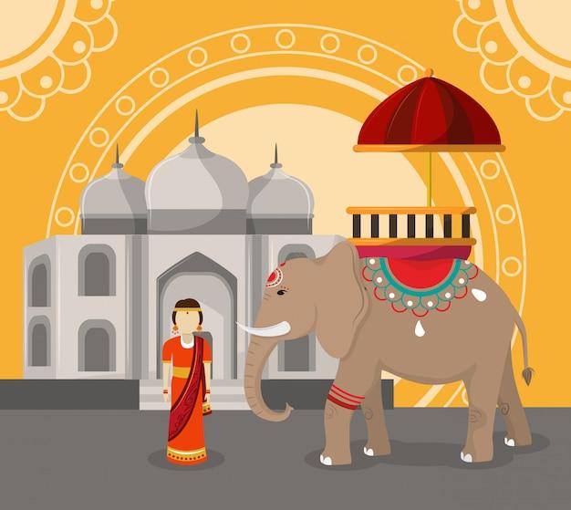 India travel and culture Premium Vector