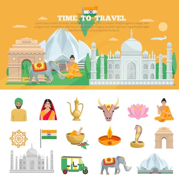 India travel set Free Vector
