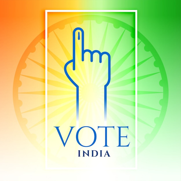 India vote hand with tricolor Free Vector