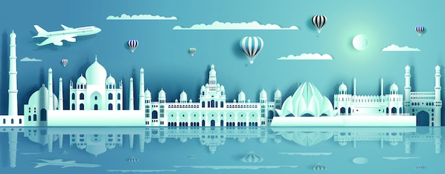 India with ancient and modern building with water reflection Premium Vector