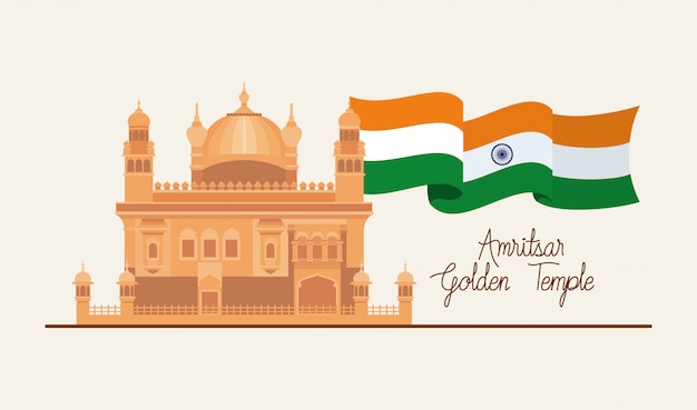 Indian amritsar golden temple with flag Free Vector