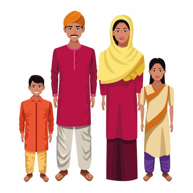 Indian asian oriental culture cartoon Premium Vector